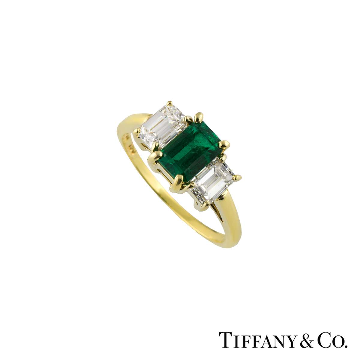 Tiffany & Co. Yellow Gold Emerald and Diamond Trilogy Ring